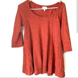 Anthropologie Deletta Pink Pleated 3/4 sleeve top